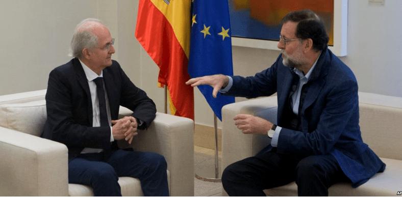 Opositor huye de Venezuela y aparece con Rajoy