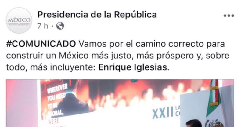"""No sólo Peña yerra, su equipo le pone """"Enrique Iglesias"""" en el face de Presidencia"""