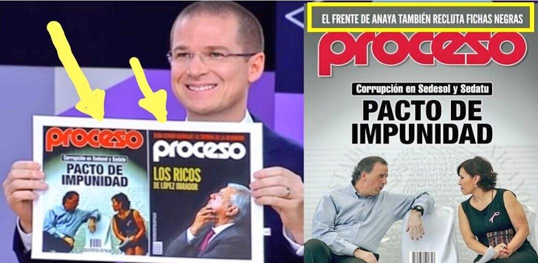 Anaya mutiló una portada de Proceso que mostró en el debate