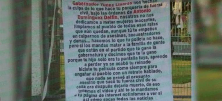 Con manta, el CJNG culpa a Yunes Linares de la muerte de Valeria