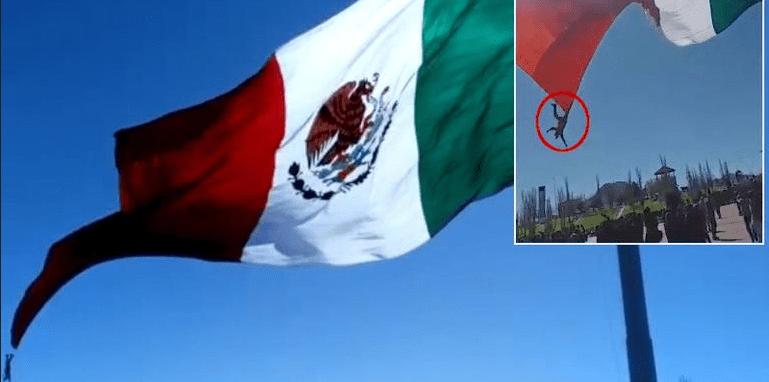 Captan caída de soldado enredado con megabandera en Chihuahua (VIDEO)