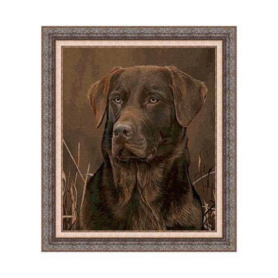 Kit de punto de cruz de Animales, Perro labrador marrón
