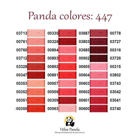Carta colores hilos Rosace, DMC y Panda