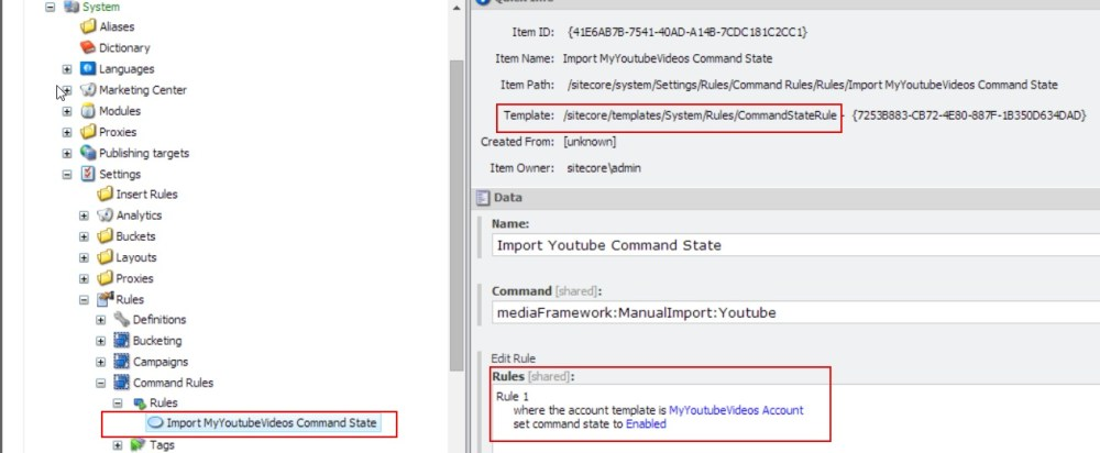 A Youtube Connector for Sitecore Media Framework Part 3 – Branch and Command Templates (6/6)