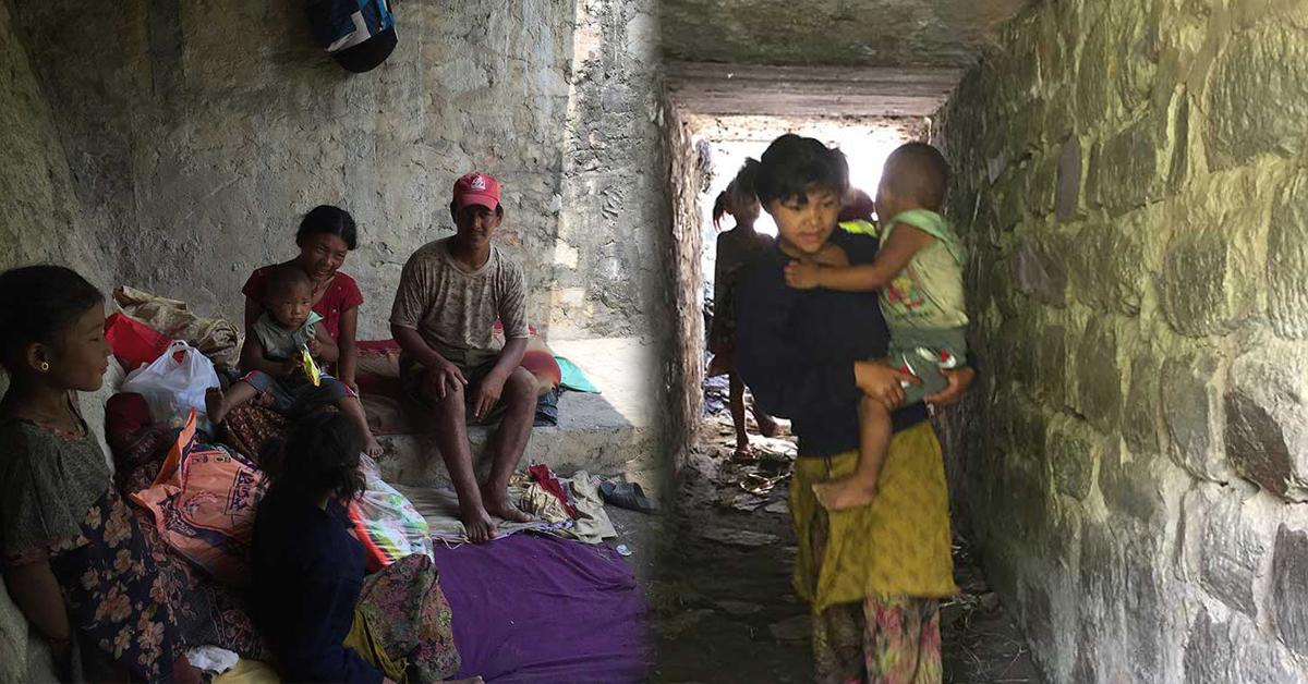 लकडाउनको पीडा: मर्स्याङ्दी किनारको ओढारमा एक हप्तादेखि एउटा परिवार