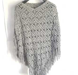 Star Poncho in Gray