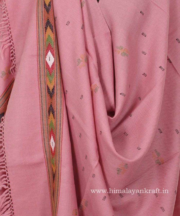 Pure Handloom Shawl Pure Wool Pink Color for Women -www.himalayankraft.in