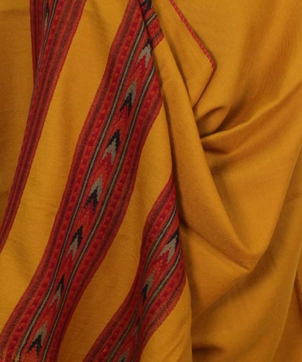Kullu Pure Wool Handwoven Embroidered Women Yellow Shawl