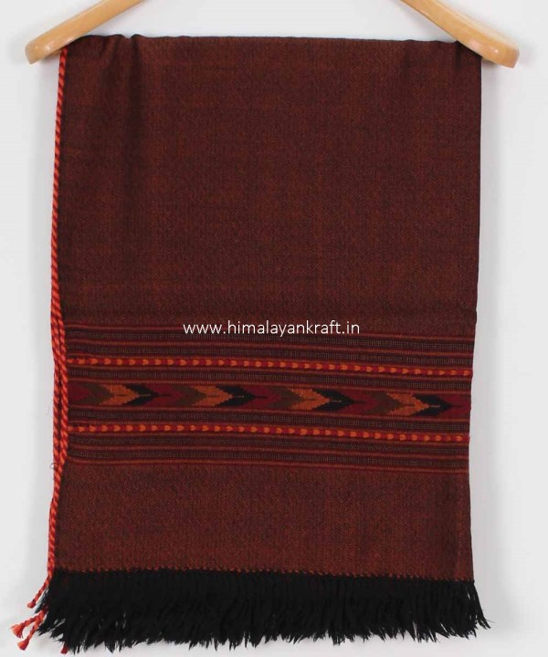 Dupattas & Stoles Purely Wool Embroidered Kullu Brown -www.himalayankraft.in