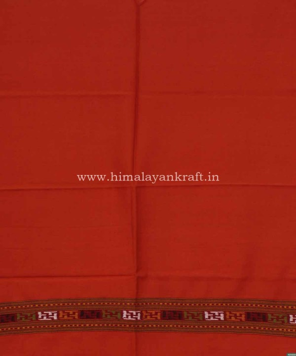 Designer Woolen Stole Handwoven Embroidery Orange-www.himalayankraft.in