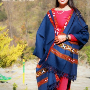 Handloom Pure Wool Kullu Shawl 3 Patti (Blue)