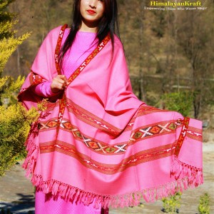 Purely Hand Weaved Woolen Kullu Handloom Shawl Pink