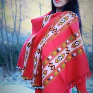 Floral Hand Woven Designed Kullu Handloom Pure Woo Shawl (Red)