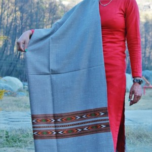 Kullu Design Pure Hand Woven Wool Handloom Shawl (Grey)