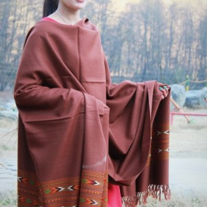 Kullu Embroidered Flowered Pure Wool Hand Woven Shawl Light Brown