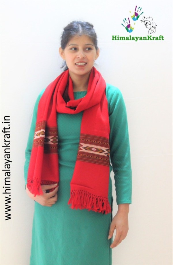 Kullu Handloom Pure Wool Hand Woven Scarf Stole for Ladies- www.himalayankraft.in