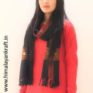 HimalayanKraft's Handloom Ultra-Light Pure Wool Kullu Stole (Black)