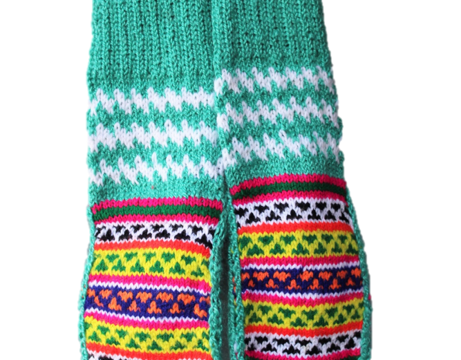 Kullu Hand Knitted Pure Woolen Unisex Socks with Beautiful Embroidery