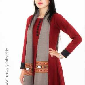 Premium Hand Woven Traditional Kullu Handloom Wool Muffler For Unisex