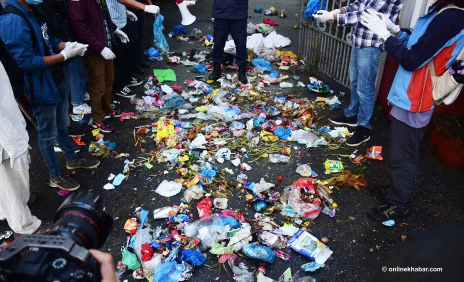 The garbage has not yet been picked up from the main square of Kathmandu