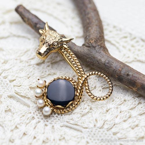 dce-K14金-真珠&オニキス天然石ヴィンテージ・ブローチ (メイン画像)