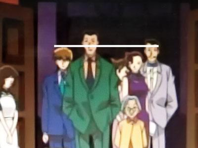 毛利小五郎と白馬探の身長比較画像