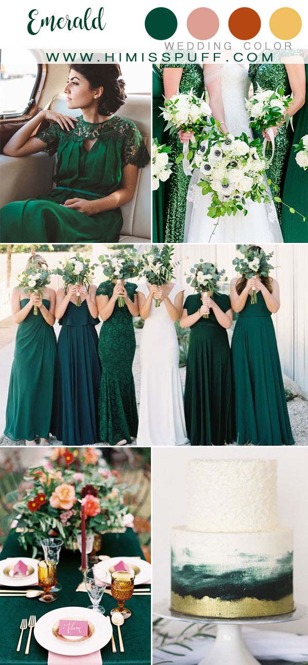 Emerald wedding color ideas Bridesmaid dresses Wedding cakes