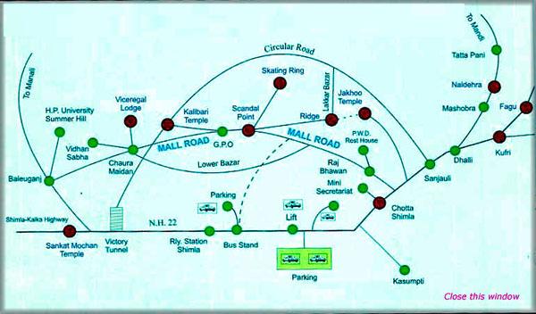 shimla tourist guide map