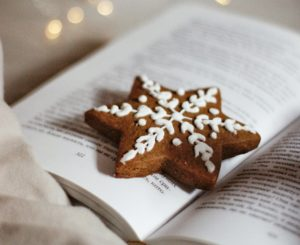 brown and white heart shaped cookies on book page