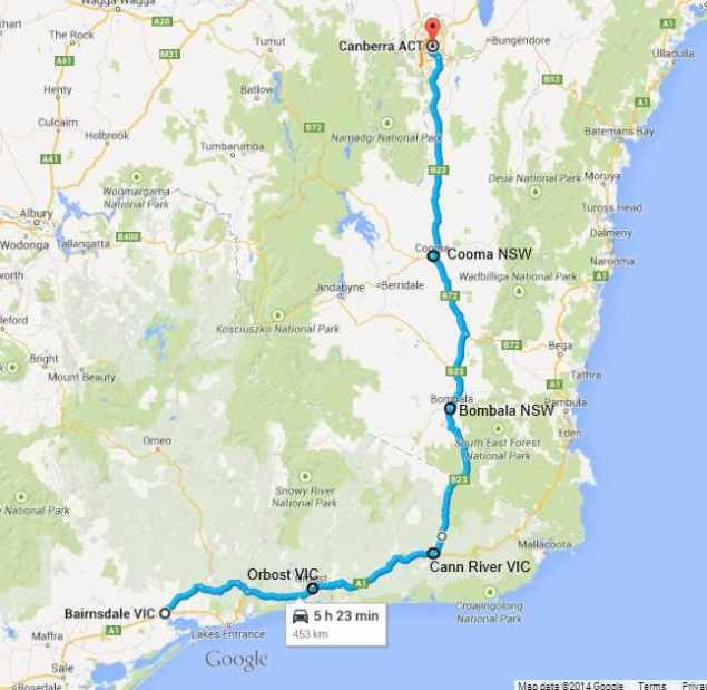 Bairnsdale-Canberra map