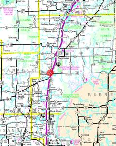 maps of Hinckley MN State Highway East Central