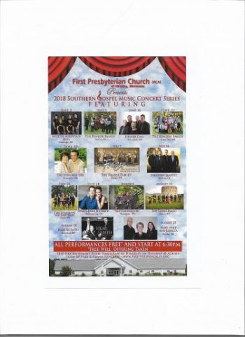 gospel concert at First Presbyterian Church Hinckley poster