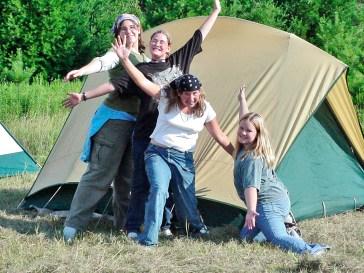 women camping at audubon center