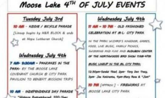 Fourth of July activities schedule in Moose Lake MN