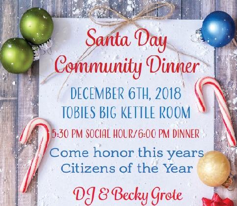 Hinckley Santa Days Community Dinner at Tobies Restaurant Big Kettle Room