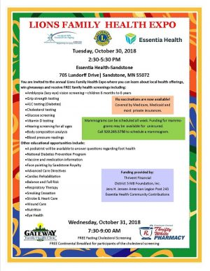 Family Health Expo at Essentia Health Sandstone with free screenings