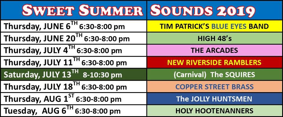 Summer Concert Schedule at Hinckley Westside Park
