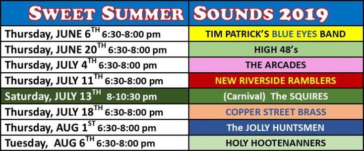 Summer Concert Schedule at Hinckley Westside Park