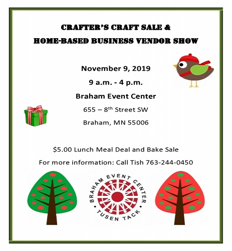 Craft Sale in November at Braham MN
