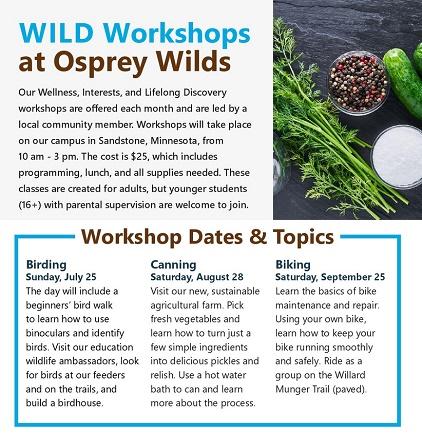 workshops, birding, canning, wilds