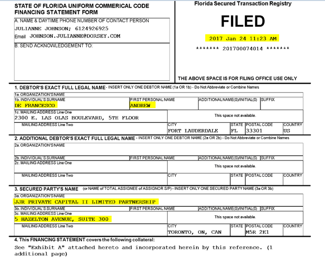 Per a Uniform Commercial Code ((UCC)) filing in Florida dated January 24th, 2017, (note that Nuuvera was created on January 30th, 2017) we see that JJR Private Capital secured a lien on DeFrancesco's interest in an entity that appears to hold real estate.