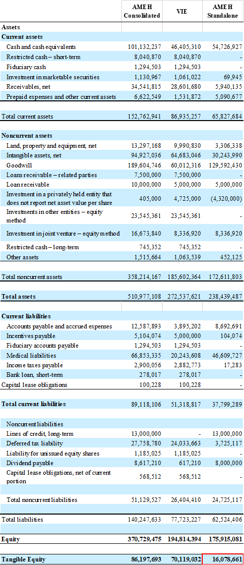 We have provided our consolidated and standalone balance sheet calculations below for reference: