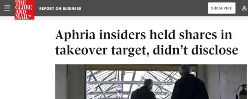Aphria / Nuuvera Insider Disclosure Failure