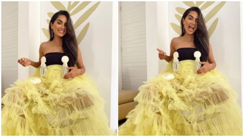 Diipa Khosla Posted A photo doing breat pump on beautiful dress on Social Media During Cannes Film Festival |  Diipa Khosla posted a picture of being a strong mother, posed for a beautiful dress with breast pumps