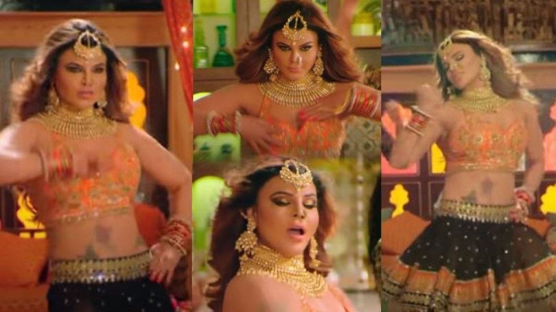 Rakhi Sawant popular bhojpuri song navratan tel, watch video |  Rakhi Sawant made fans' pain fail in a moment with Bhojpuri song, applied a lot of oil!