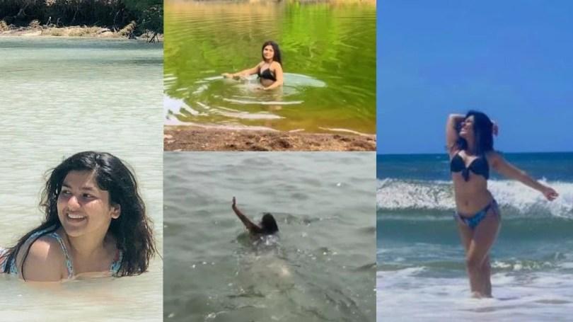 Nidhi Bhanushali aka purani sonu of Taarak Mehta Ka Ooltah Chashmah swims at lake in rajasthan    Taarak Mehta fame Nidhi Bhanushali could not bear the heat, took a dip in the lake wearing a bikini;  Said- I need an excuse