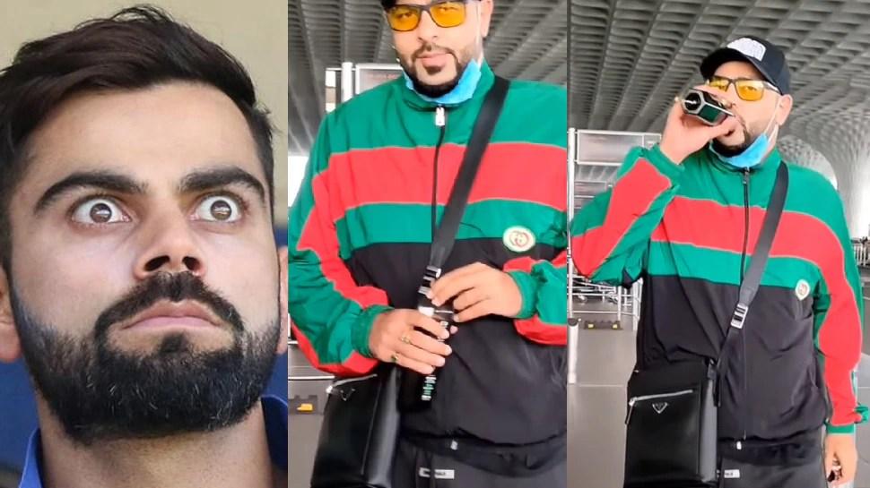 Bollywood Rapper Badshah Showed Off His Black Water At The Airport    Rapper Badshah was seen drinking black water like Virat Kohli, showed off his sip