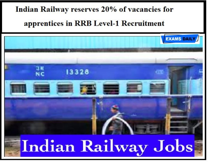 Big Announcement From Indian Railway – 20% of vacancies reserved for apprentices in RRB Level-1 Recruitment