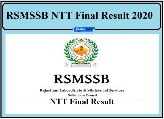 RSMSSB NTT Final Result 2020 Out- Check Cut Off Details Direct Link to Download Result!!!