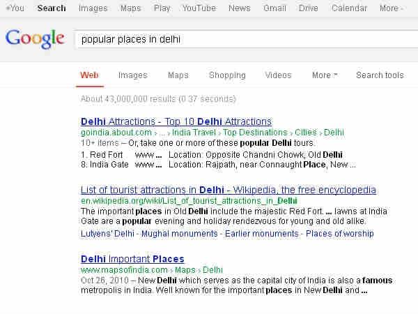 google में favorite toourist places कैसे search करें